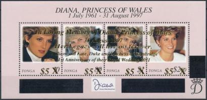 In honor of Lady Diana, Prince William and Kate Middleton's first marriage anniversary overprinted block, Lady Diana emlékére, Vilmos herceg és Kate Middleton első házassági évfordulója felülnyomott blokk