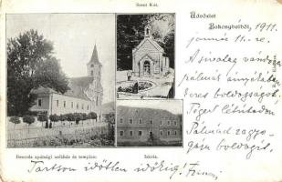 Bakonybél, Bencés apátsági székház és templom, Szent kút, iskola (kopott sarkak / worn corners)