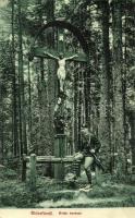 Kúpele Stós; cross in the forest, Stószfürdő, Kúpele Stós; Erdei kereszt. Wlaszlowits Gusztáv kiadása