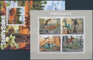 Prehistoric animals mini sheet + block, Prehisztorikus állatok kisív + blokk