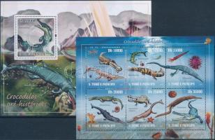 Prehistoric animals minisheet + block, Prehisztorikus állatok kisív + blokk