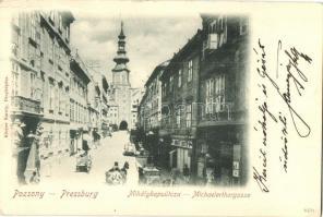 1899 Pressburg, Bratislava; street view, shop, 1899 Pozsony, Pressburg, Bratislava; Mihálykapu utca, Ignatz Lunzer üzlete. Körper Károly kiadása