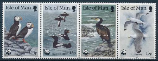 WWF Seabirds stripe of 4 + 4 FDC, WWF: Tengeri madarak sor 4-es csíkban + 4 db FDC