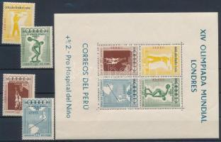 1957 Nyári Olimpia, Melbourne sor Mi 547-550 + blokk 2