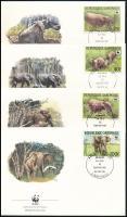 WWF: Erdei elefánt sor 4 db FDC-n, WWF Forest elephant set 4 FDC