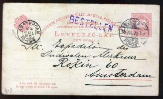 1895 5kr díjjegyes válaszos levelezőlap tőlapja IV vízjellel Hollandiába / 5kr PS-card watermark IV to Holland