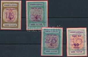 1932 Kiskunfélegyháza R.T.V. 4 klf füzetbélyeg, 3 bélyeg 3 oldalon vágott (27.000)