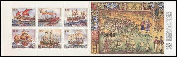 Adria sailing ships stamp-booklet Adriai vitorláshajók bélyegfüzet