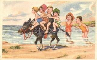 Children on the beach. W.S.S.B 9691/3.