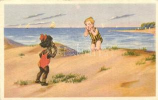 Children on the beach. W.S.S.B 9692/1.