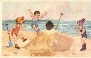 Children on the beach. W.S.S.B 9692/4.
