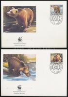 WWF Bear set 4 FDC, WWF: Barna medve sor 4 db FDC-n