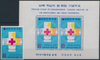 Red Cross stamp + block, Vöröskereszt bélyeg + blokk