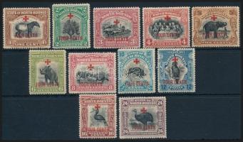1918 Vöröskereszt felülnyomott sor 11 értéke Mi 179-189
