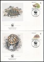 WWF Greek turtle set 4 FDC, WWF: Görög teknős sor 4 db FDC-n