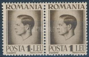 """Mi 930 pair, on one stamp ink spot, Mi 930 pár, az egyik bélyegen festékfolt az ,,1"""" után"""