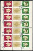1958 Bélyegnap (31.) 36 db hármascsík ívdarabokban + 1961 Bélyegnap (34.) 30 db négyescsík ívdarabokban (45.600)