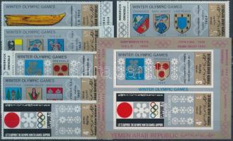 1968 Téli olimpiai helyszínek címerei sor Mi 818-823 + vágott blokk Mi 82
