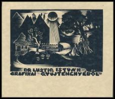 Jelzés nélkül: Ex libris Dr Lustig István grafikai gyűjteményéből. Fametszet, papír, 7×9 cm