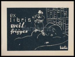 Bartos László (1902-1943): Erotikus ex libris Weil Frigyes. Famesztet, papír, jelzett a klisén, 6×9 cm