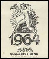 Drahos István (1895-1968): Erotikus ex libris 1964 Galambos Ferenc. Fametszet, papír, jelzett a dúcon, 8,5×7,5 cm