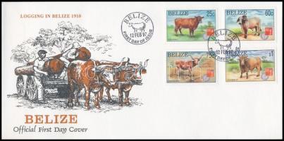International Stamp Exhibition HONG KONG 97; Breeds of cattle set on FDC Nemzetközi Bélyegkiállítás HONG KONG '97; Szarvasmarha fajták sor FDC-n