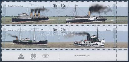 Fluvial ships corner block of 4, Folyami hajók sor ívsarki négyestömbben