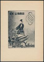 Jelzés nélkül: Humoros jogi ex libris Dr Lustig István. Klisé, papír, 7,5×5,5 cm