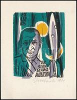 Edward Grabowski (1904-1966): Ex libris Dr Stani Slawa Aulicha (rakéta). Színes linó, papír, jelzett, 9,5×7 cm