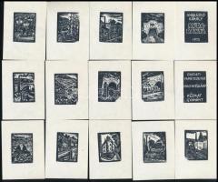 Andruskó Károly (1915-2008): Rudabánya sorozat 1975. Fametszet, papír, összesen:40 db, 3,5×3 cm