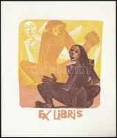 Antoni Gelabert (1911-1990): Erotikus ex libris Helmer Fogedgaard. Színes fametszet, papír, jelzés nélkül, 8×6,5 cm