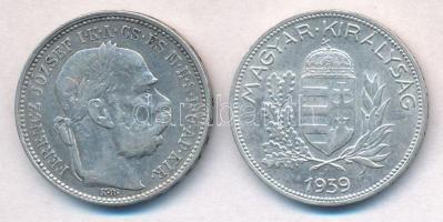 1895KB 1K Ag Ferenc József + 1939. 1P Ag T:2,2-,1-