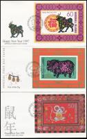 1995-1997 Chinese New Year 3 block 3 FDC, 1995-1997 Kínai újév 3 klf blokk 3 FDC-n