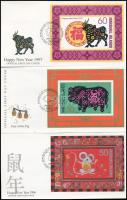 1995-1997 Chinese New Year 3 diff block on 3 FDC, 1995-1997 Kínai újév 3 klf blokk 3 FDC-n