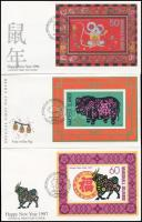 1995-1997 Chinese New Year 3 diff blocks on 3 FDCs 1995-1997 Kínai újév 3 klf blokk 3 FDC-n