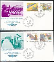 Pope John Paul' II. s journey around the world 4FDC, II. János Pál pápa világ körüli útja sor 4 FDC-n
