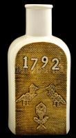 Hollóházi porcelán Tiszafüred kulacs, hibátlan, jelzett + nagy porcelán palack, hibátlan, m: 19 és 27 cm
