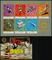 Summer Olympic Games, Munich minisheet + block, Nyári olimpiai játékok, München kisív + blokk