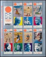 1971 Téli olimpiai játékok, Sapporo (V.) kisív Mi 1353-1359 + blokk 161