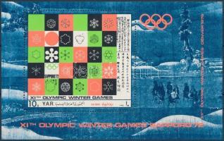 Téli olimpiai játékok, Sapporo (V.) kisív + blokk, Winter Olympics, Sapporo (V) mini sheet + block