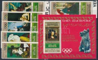 Mexican Olympics: Paintings margin set + block, Mexikói olimpia: Festmények ívszéli sor + blokk