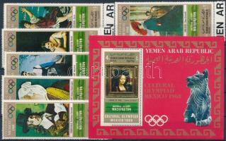 1969 Mexikói olimpia: Festmények ívszéli sor Mi 1005-1010 + blokk Mi 112