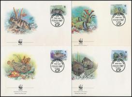 WWF: Fish set on 4 FDC, WWF: Halak sor 4 db FDC-n