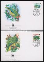 WWF Parrots set 4 FDC 1993 WWF Papagájok sor 4 FDC-n