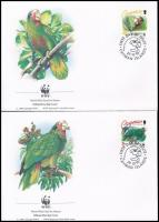 WWF: Parrots set on 4 FDC, WWF Papagájok sor 4 FDC-n