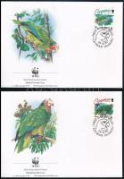 WWF Parrots set 4 FDC, WWF Papagájok sor 4 FDC-n