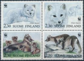 WWF Arctic fox block of 4 + 4 FDC WWF: Sarki róka négyestömb  + 4 db FDC