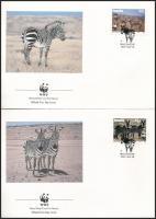 WWF: Zebra set on 4 FDC + set, WWF: Zebra sor 4 FDC-n + sor