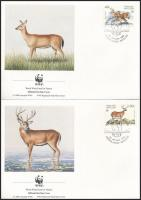 WWF: Szarvasok sor  4 FDC-n + a sor WWF-es értékei, WWF: Deer set on 4 FDC
