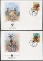 WWF: Antelope set on 4 FDC, WWF: Antilopok sor  4 db FDC-n